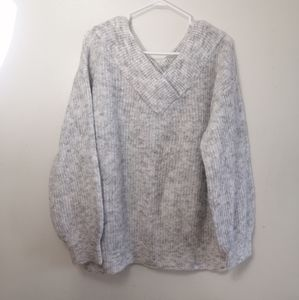 Seven SISTERS Sweater V-neck and back, grey size large